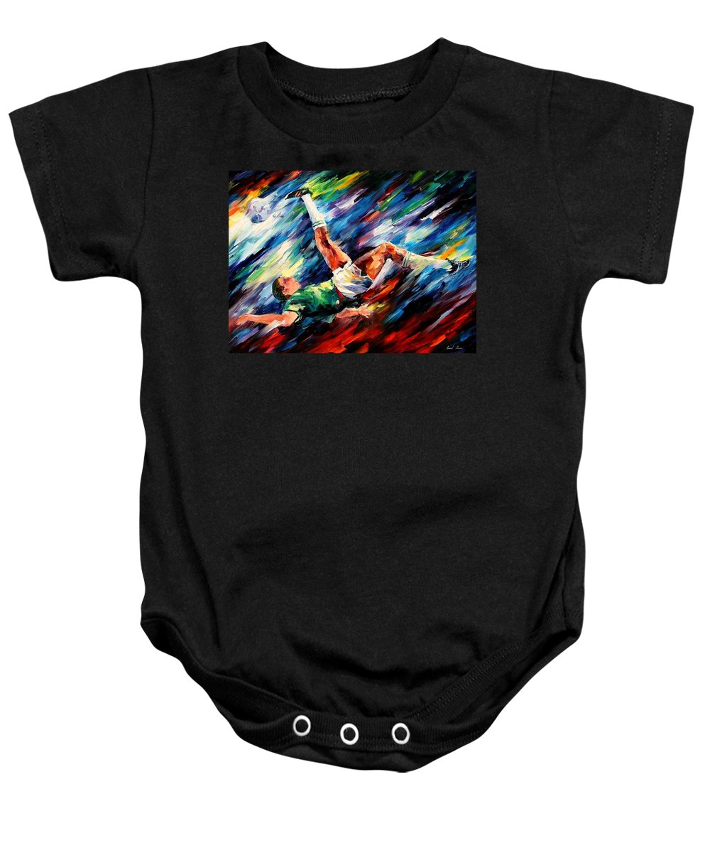 Afremov Baby Onesie featuring the painting Bicycle Kick by Leonid Afremov