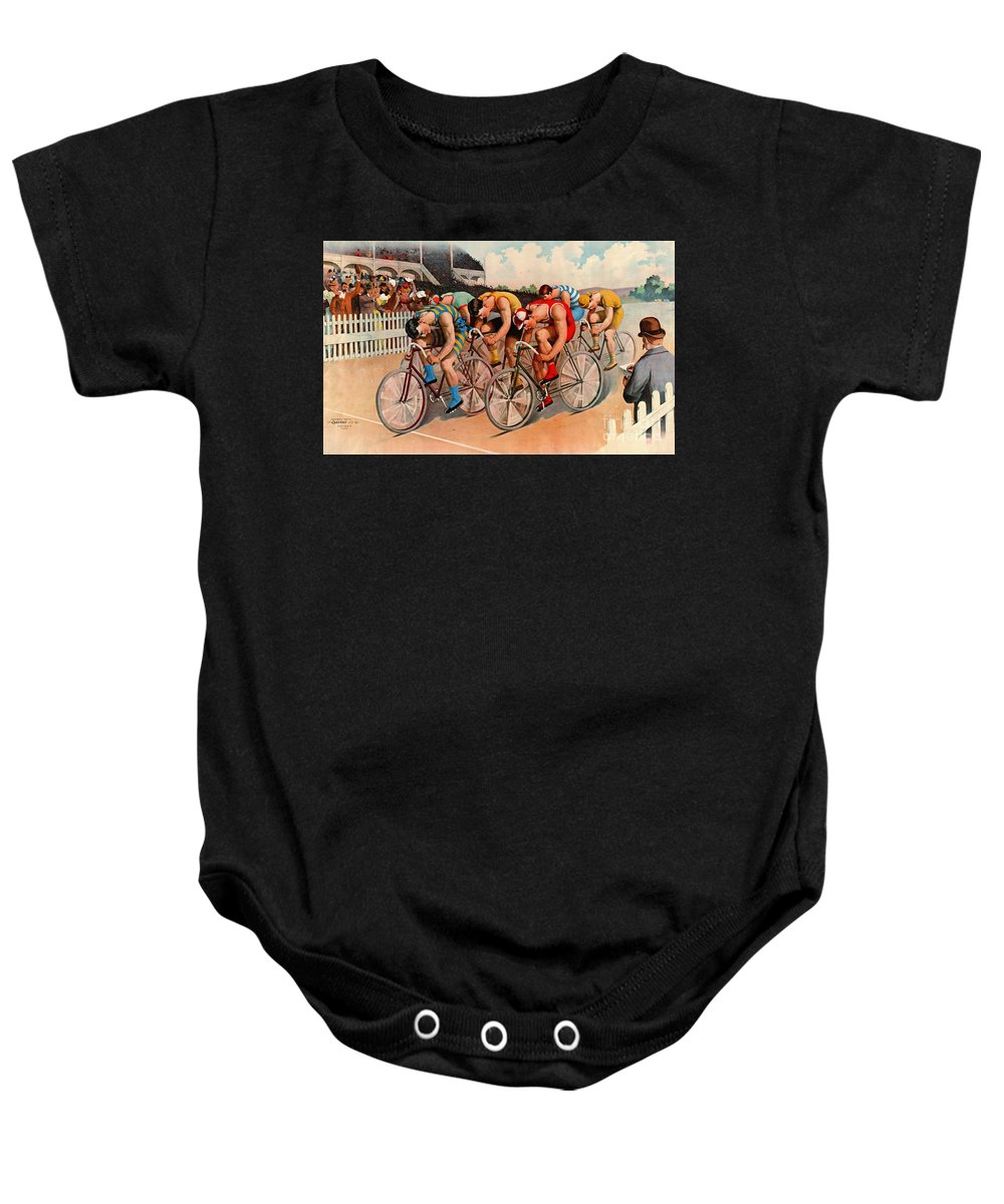 Bicycle Race 1895 Baby Onesie featuring the photograph Bicycle Race 1895 by Padre Art