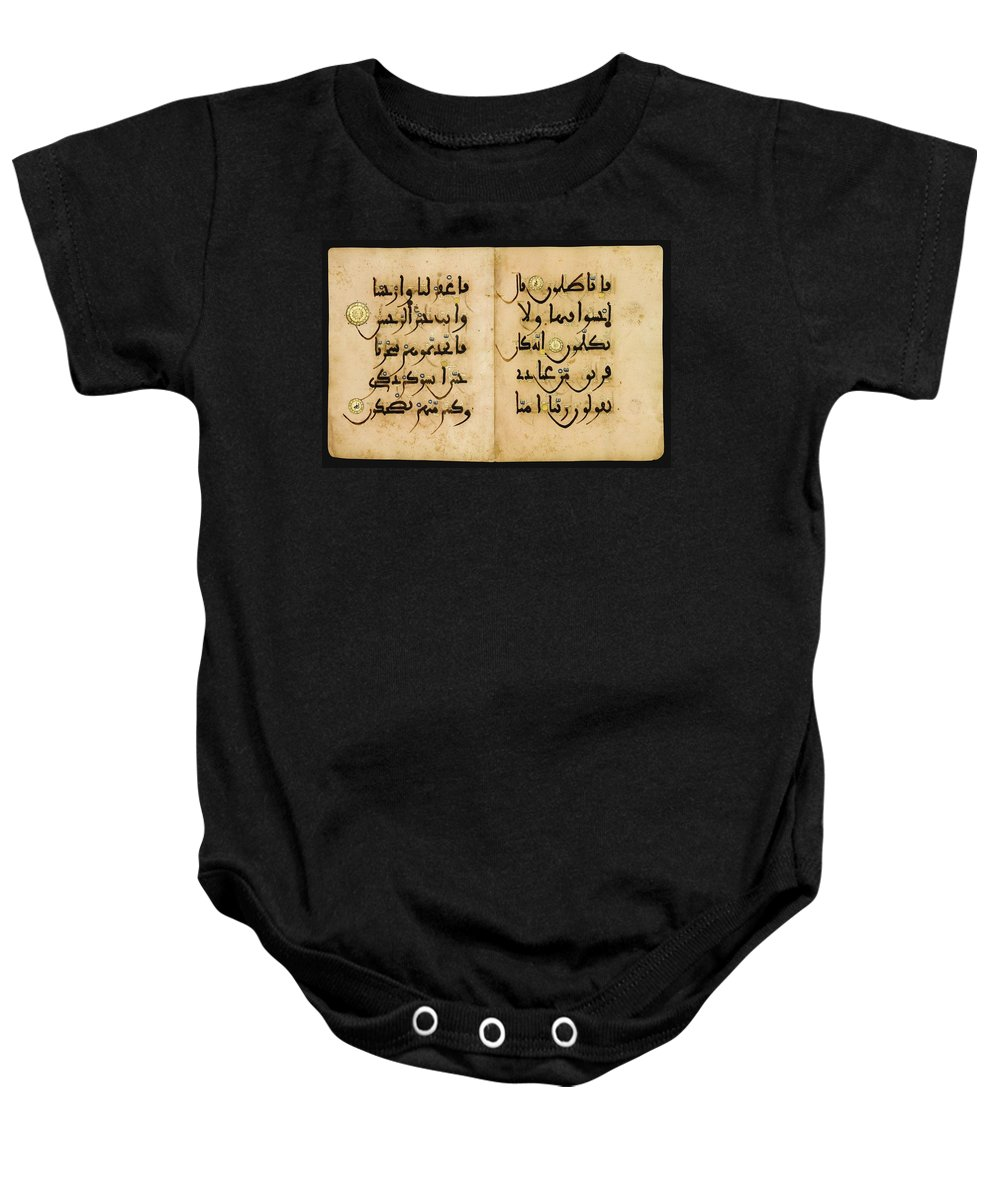 A Qur'an Bifolium In Maghribi Script Baby Onesie featuring the painting Bifolium In Maghribi Script by Eastern Accents