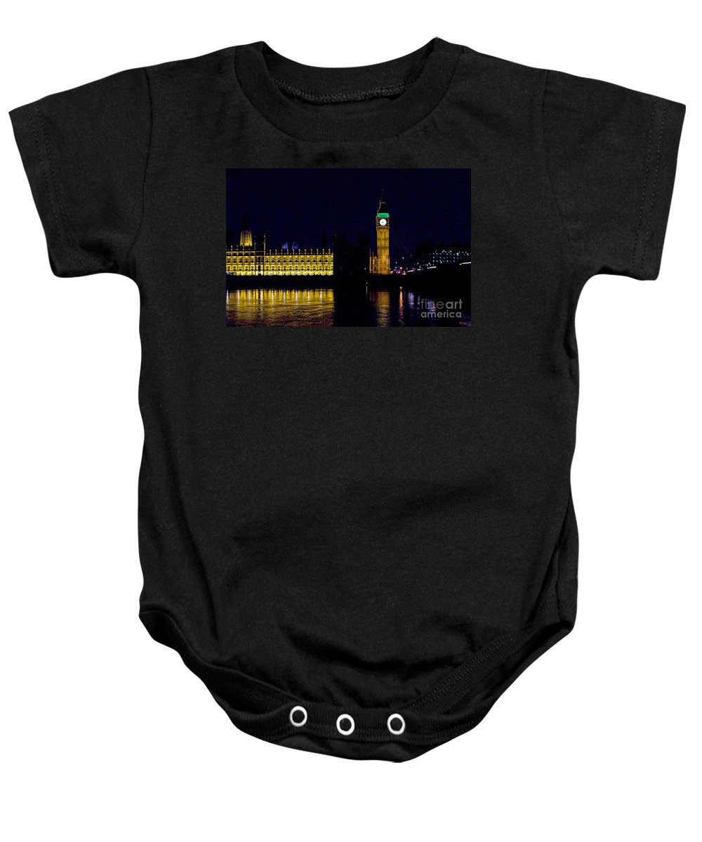 Big Ben Baby Onesie featuring the photograph Big Ben Along The Thames by Greg Plamp