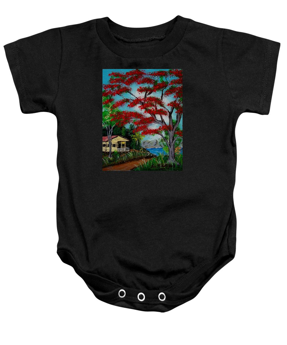 Flamboyant Tree Baby Onesie featuring the painting Big Red by Luis F Rodriguez