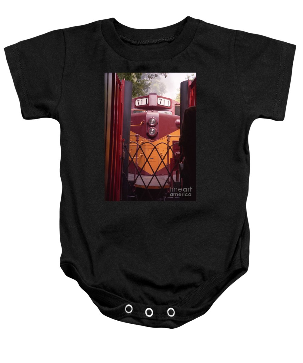 Trains Baby Onesie featuring the photograph Big Red by Richard Rizzo