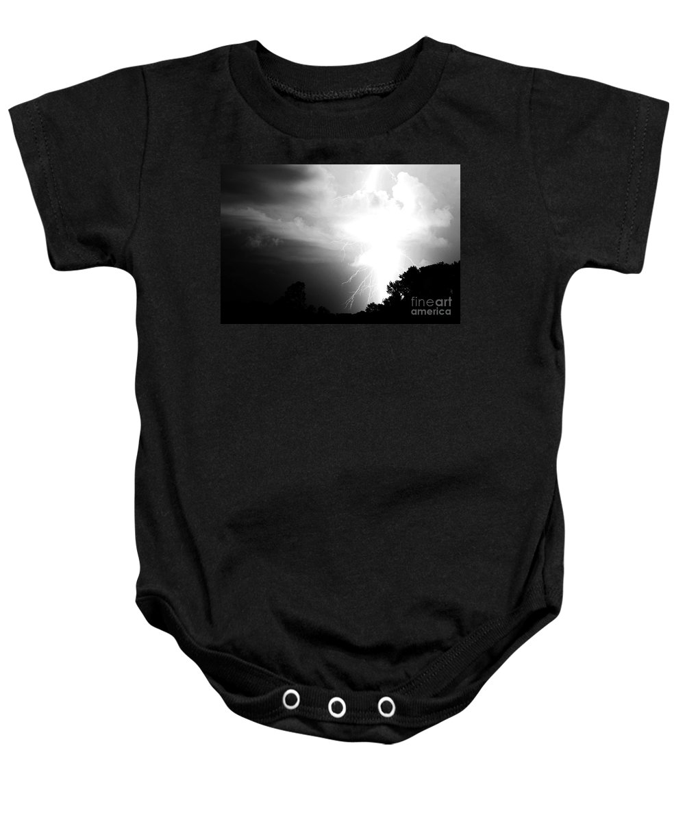 Lightning Baby Onesie featuring the photograph Big Strike by Amanda Barcon