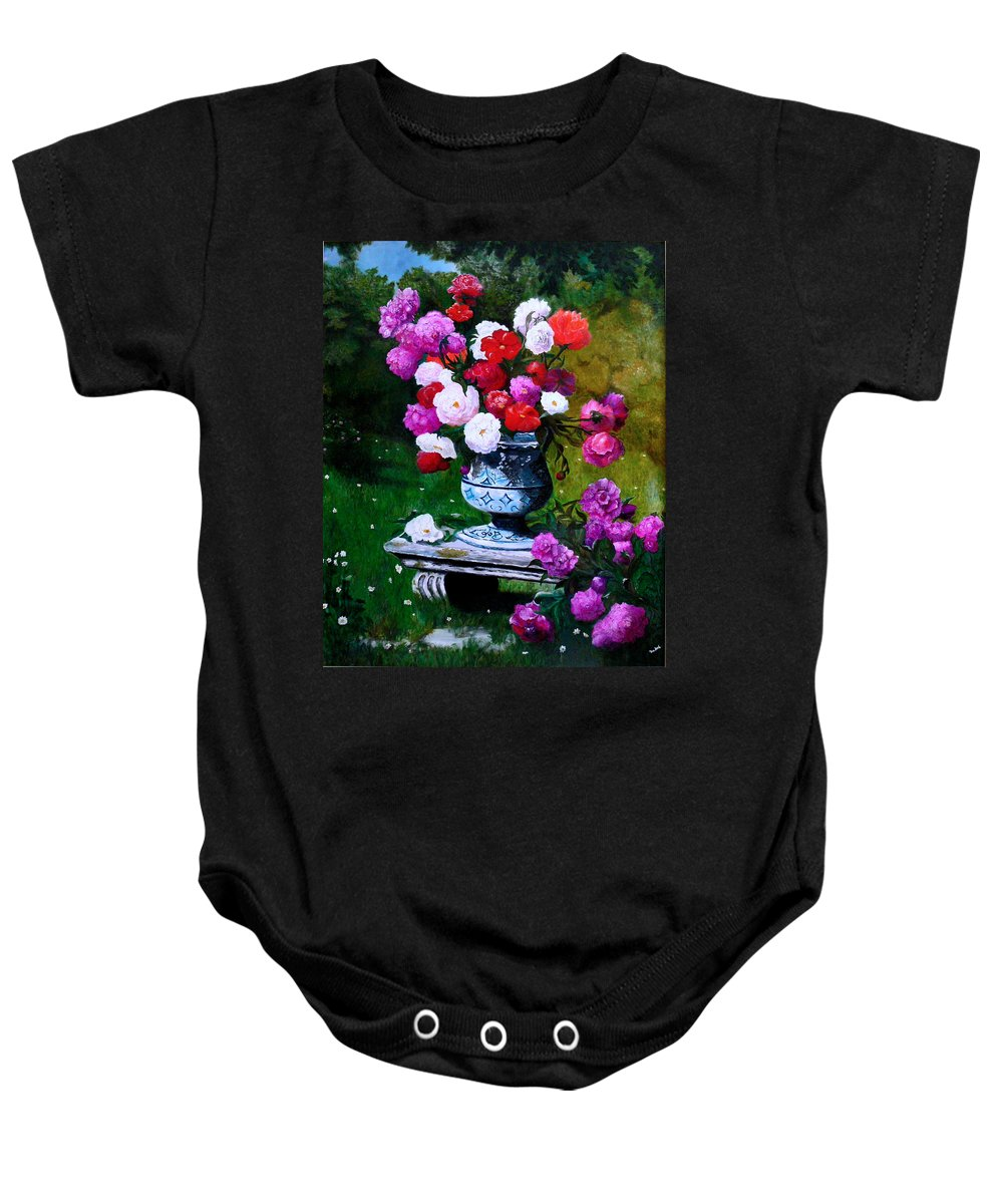 Stilllife Baby Onesie featuring the painting Big Vase With Peonies by Helmut Rottler
