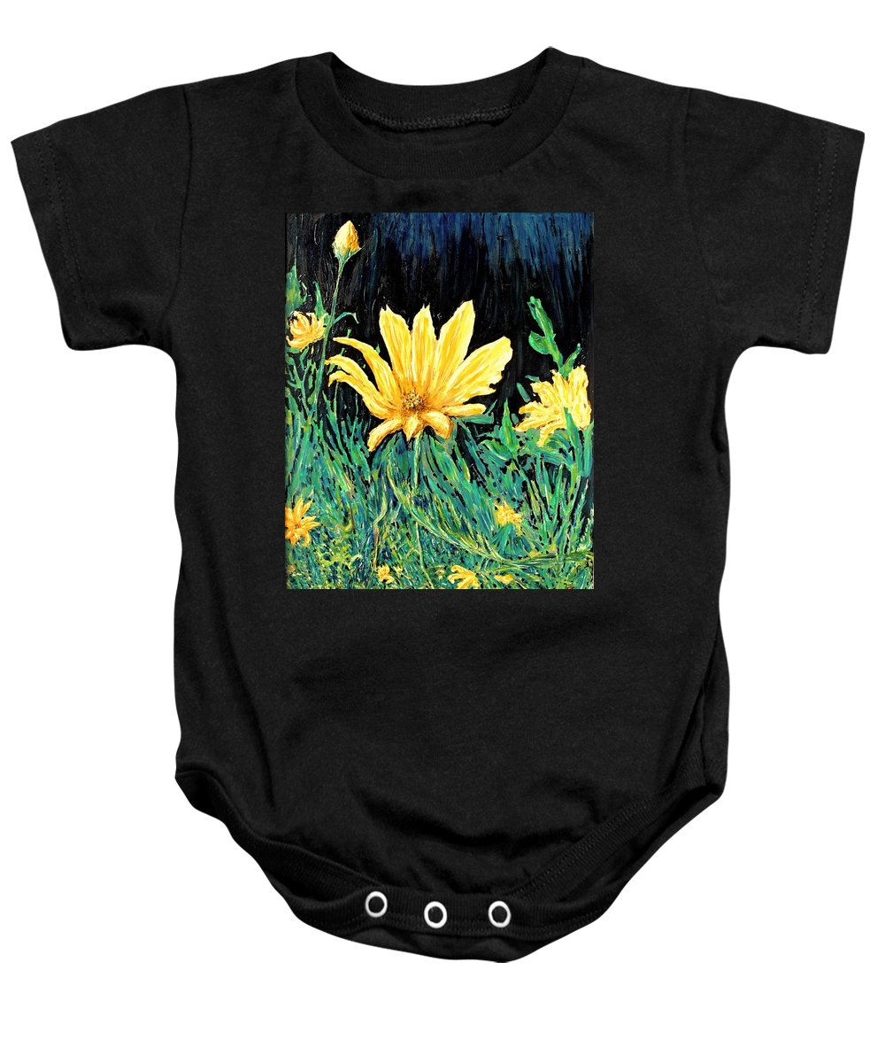 Flower Baby Onesie featuring the painting Big Yellow by Ian MacDonald