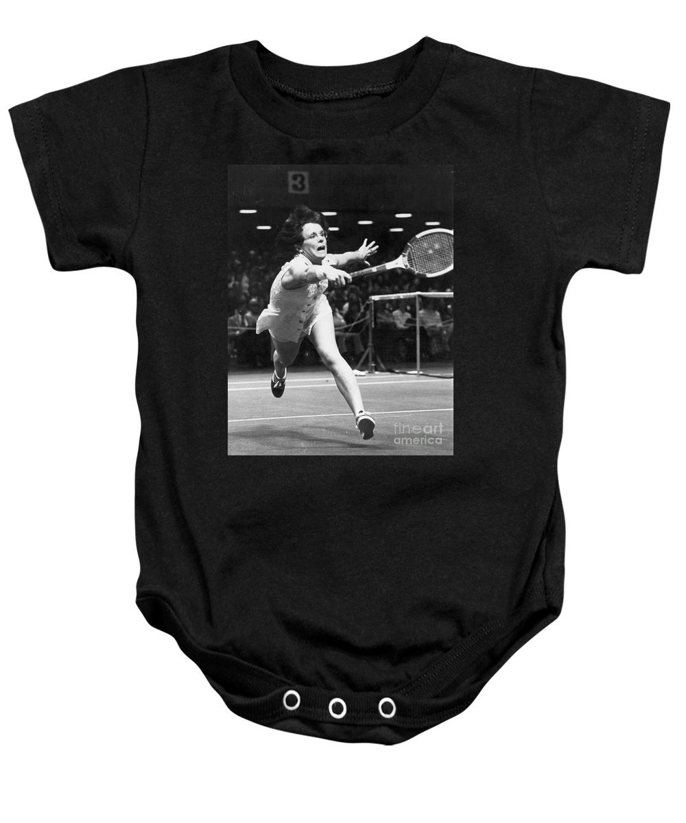 1974 Baby Onesie featuring the photograph Billie Jean King by Granger