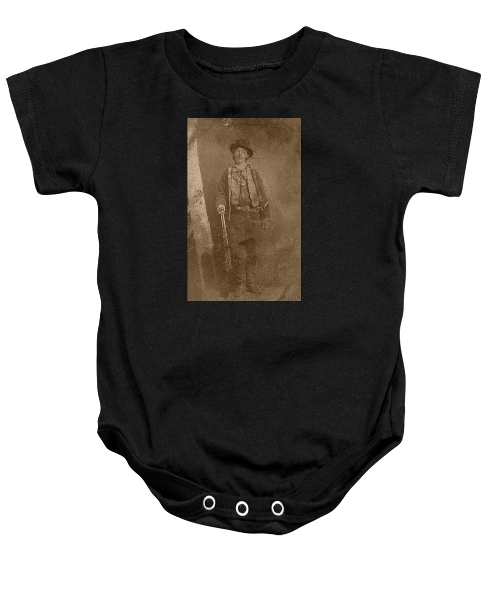 Billy The Kid Baby Onesie featuring the photograph Billy The Kid by War Is Hell Store