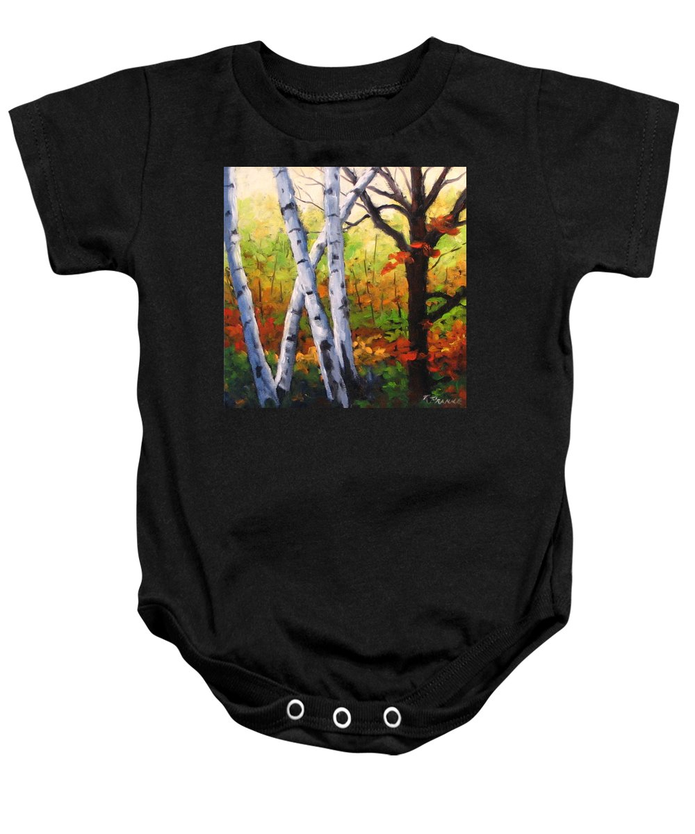 Art Baby Onesie featuring the painting Birches 05 by Richard T Pranke