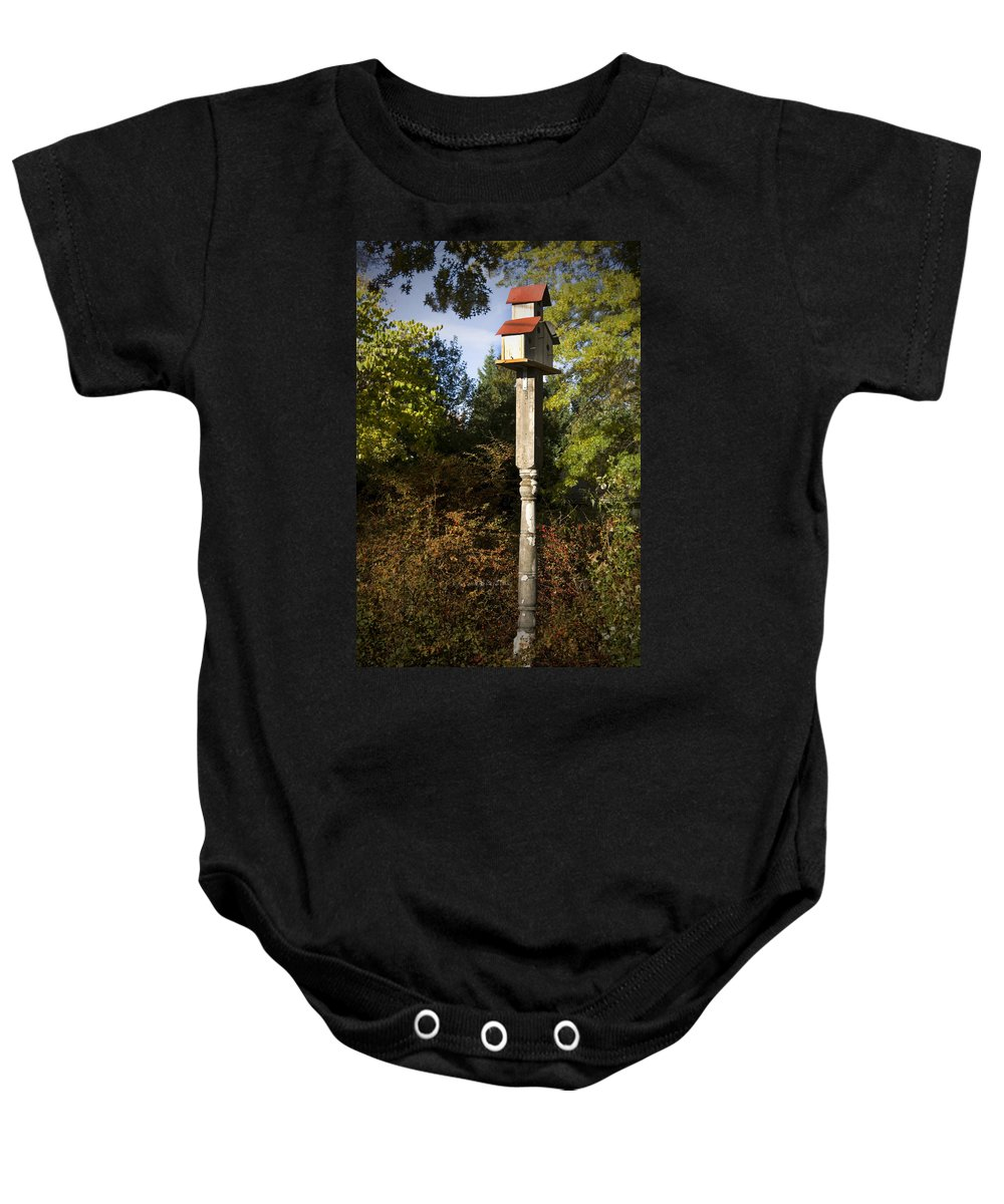 Fall Baby Onesie featuring the photograph Bird House by Teresa Mucha