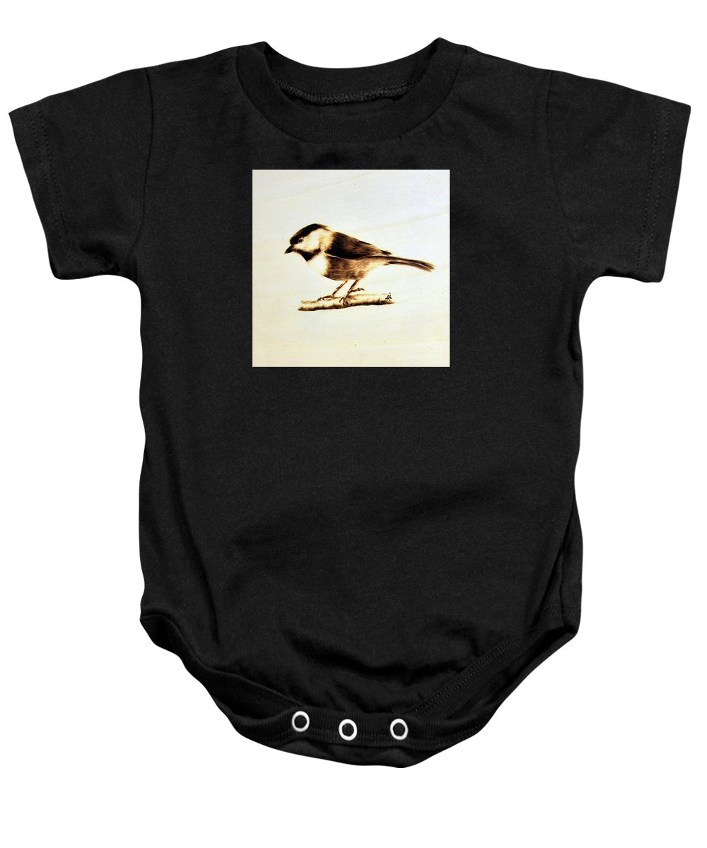 Wood Baby Onesie featuring the pyrography Bird by Ilaria Andreucci