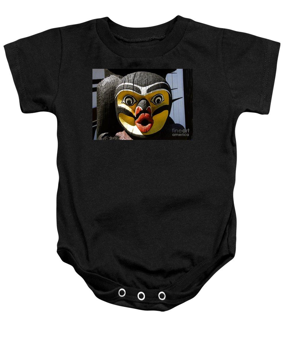 Totem Baby Onesie featuring the photograph Bird Man by David Lee Thompson