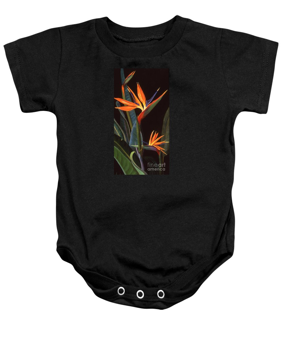 Flower Baby Onesie featuring the painting Bird Of Paradise by Susan Jump