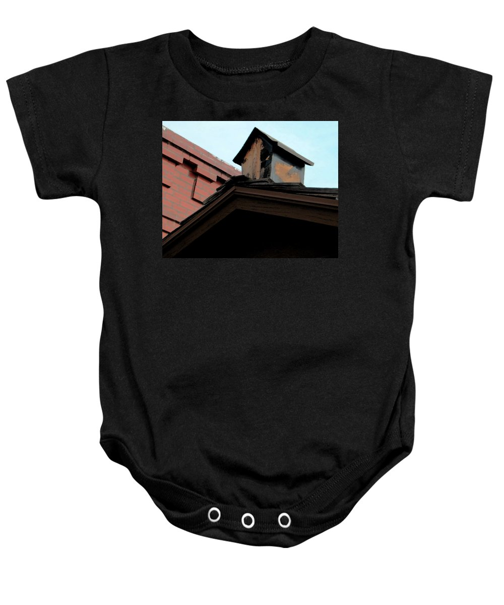 Abstract Baby Onesie featuring the photograph Birdhouse On Top Of House by Lenore Senior