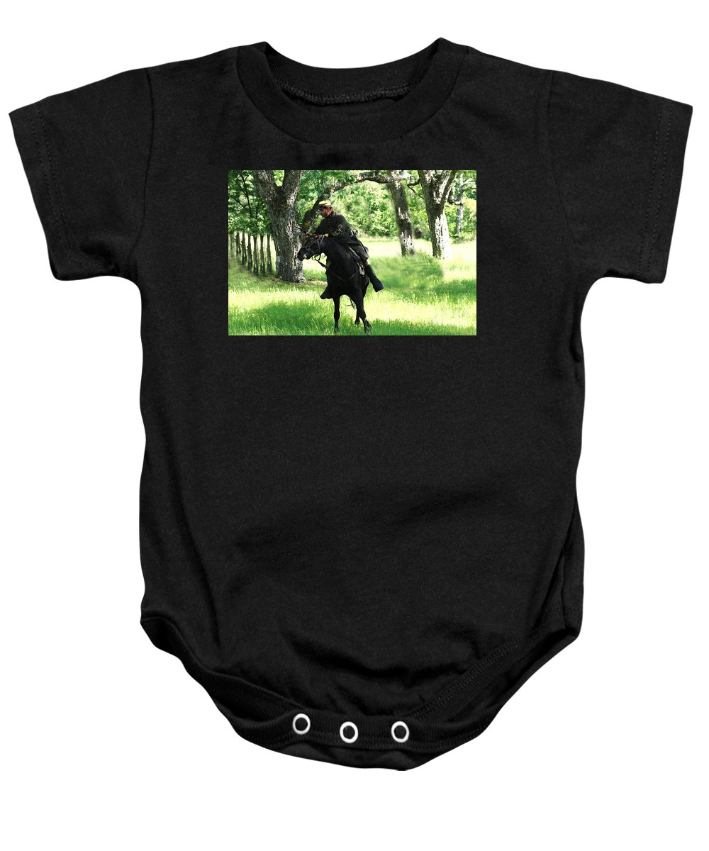 Civil War Re-enactment Baby Onesie featuring the photograph Black Amongst The Green by Kim Henderson