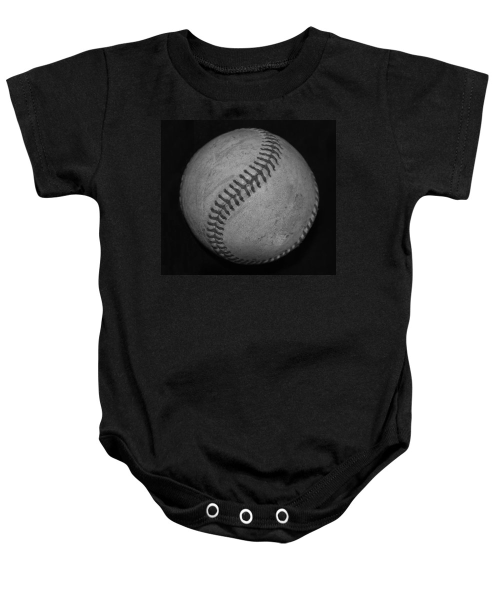Baseball Baby Onesie featuring the photograph Black And White Baseball by Rob Hans