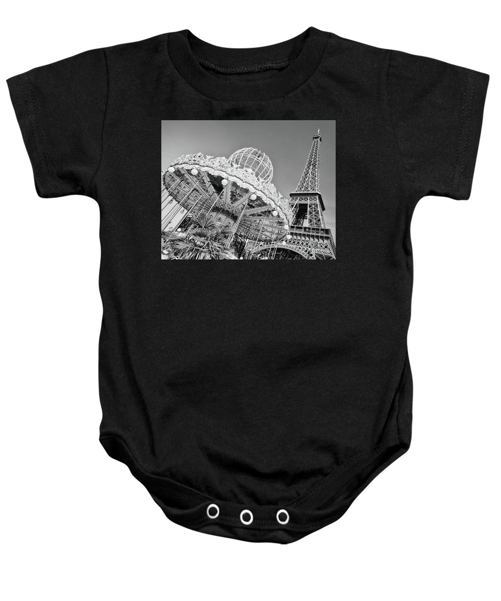 Paris Baby Onesie featuring the photograph Black And White Carousel by Delphimages Photo Creations