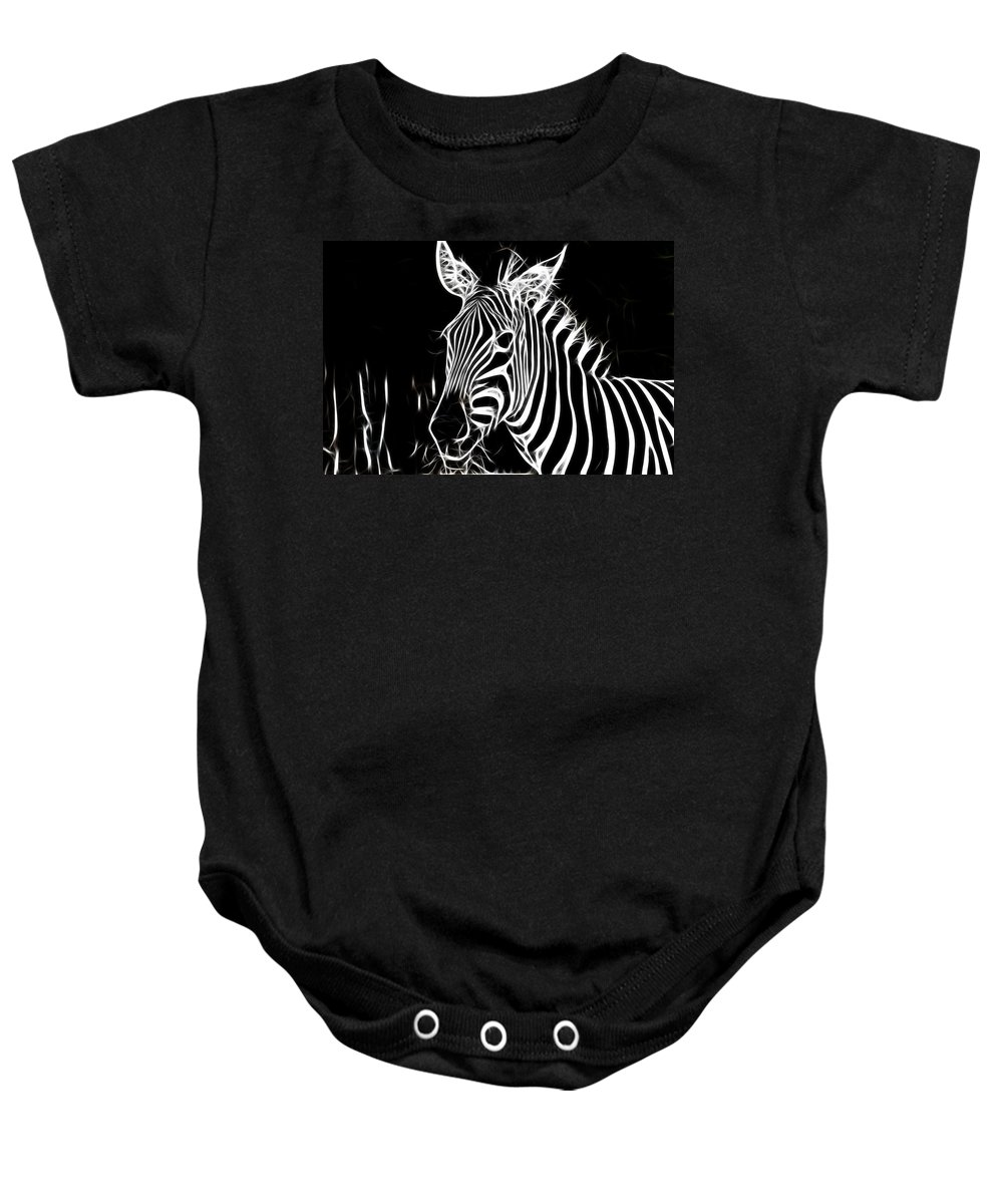 Zebra Baby Onesie featuring the photograph Black And White by Douglas Barnard