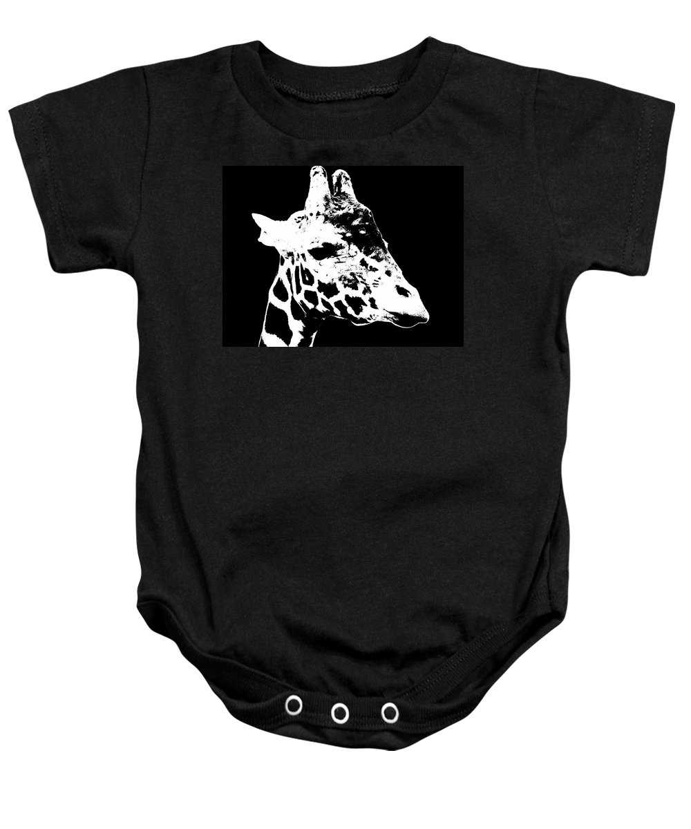 Black And White Baby Onesie featuring the photograph Black And White Giraffe by Sergey Lukashin
