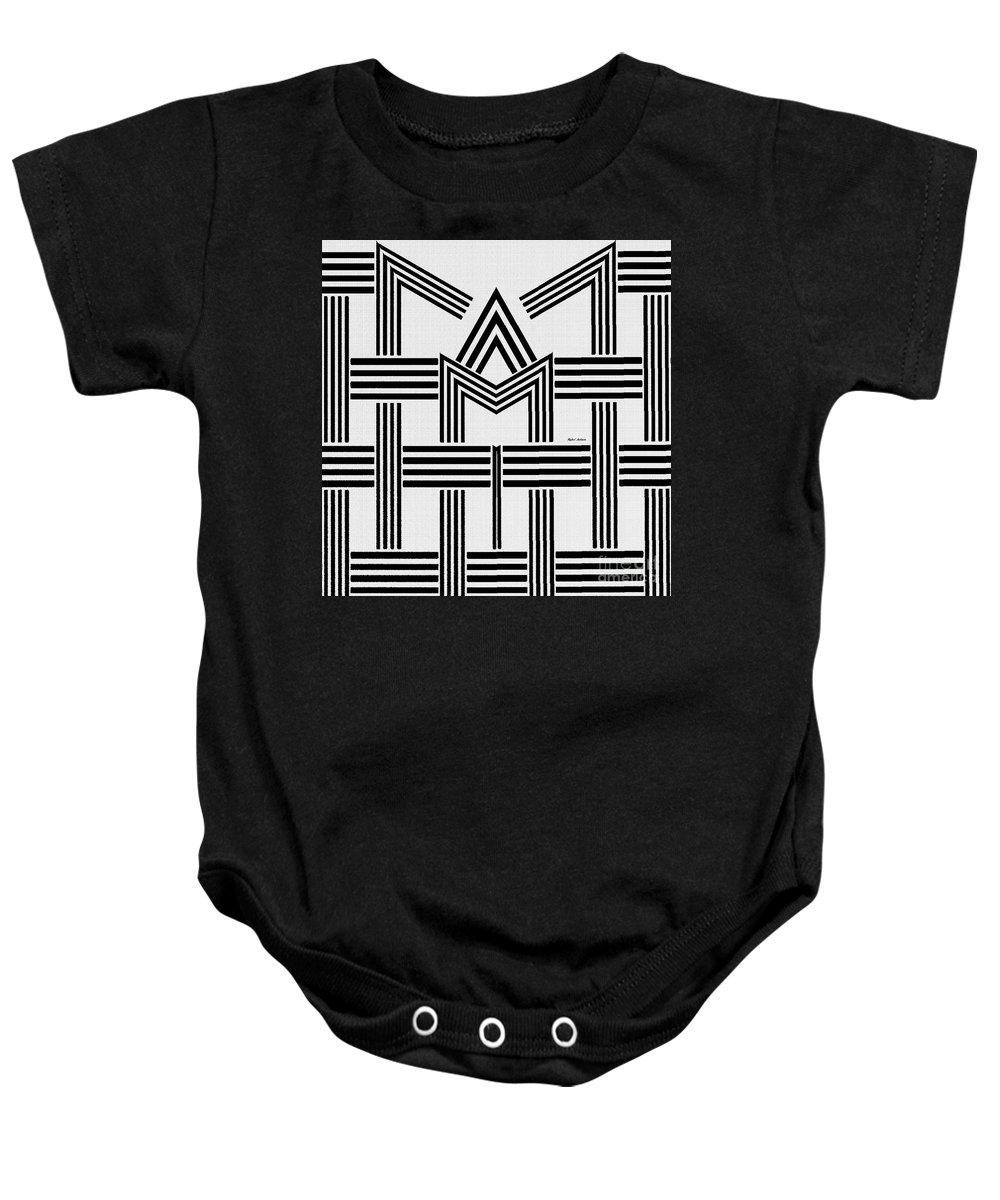 Rafael Salazar Baby Onesie featuring the digital art Black And White M by Rafael Salazar