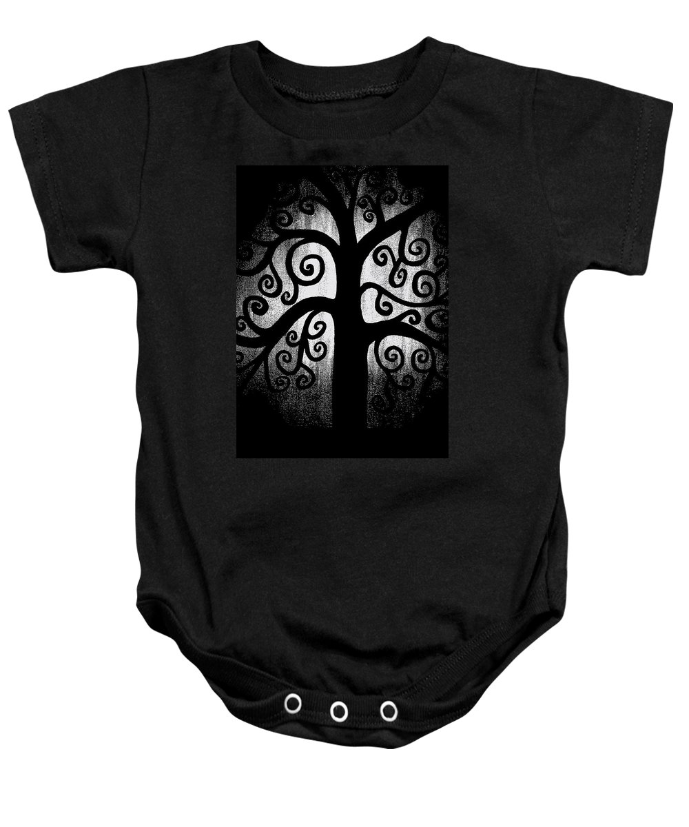 Black And White Baby Onesie featuring the painting Black And White Tree by Angelina Vick