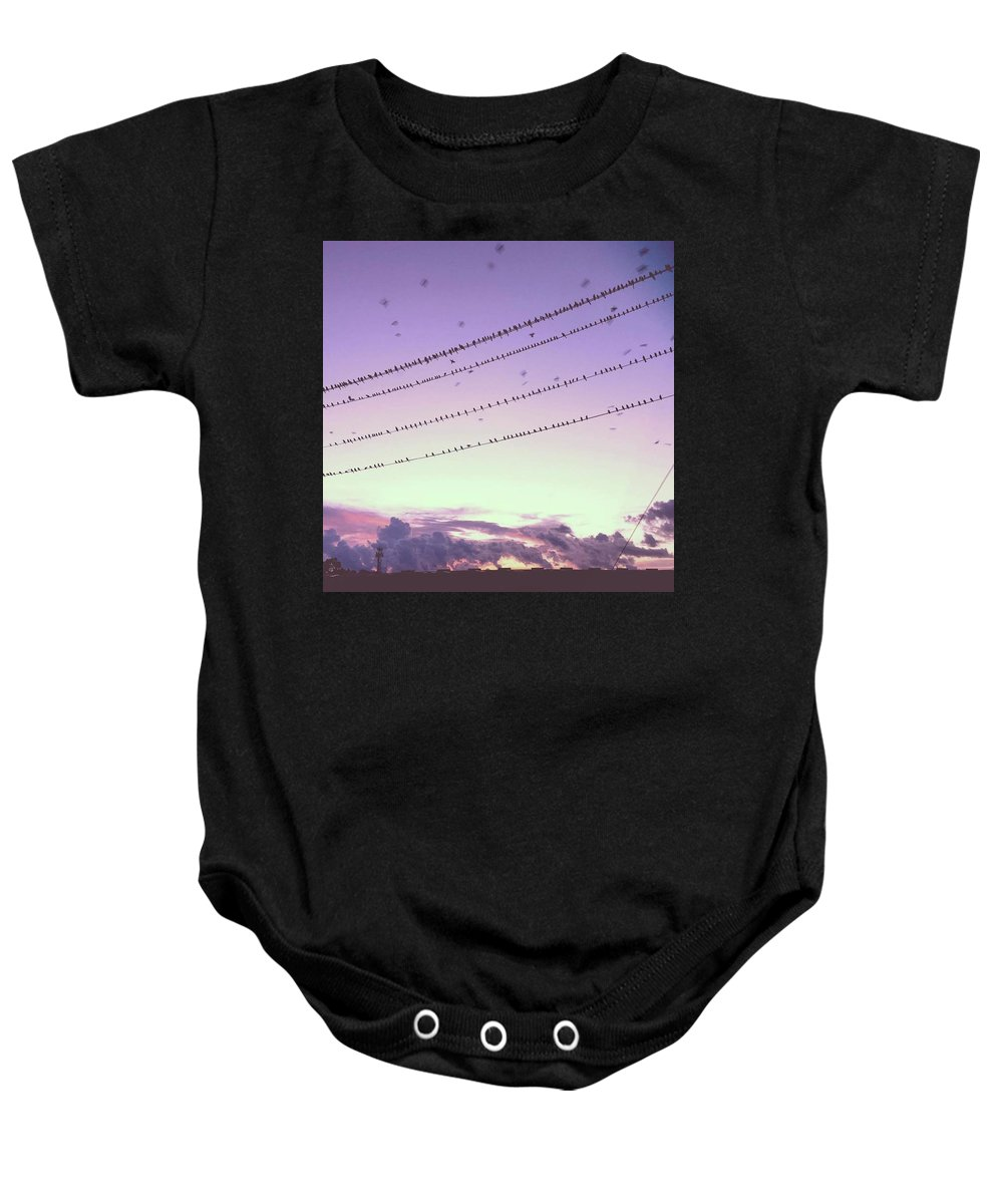 Birds Baby Onesie featuring the photograph Black Birds by Claire Kenney