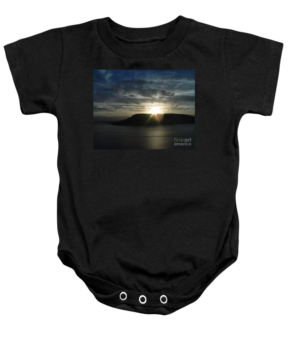 Black Butte Lake Baby Onesie featuring the photograph Black Butte Sunrise by Peter Piatt