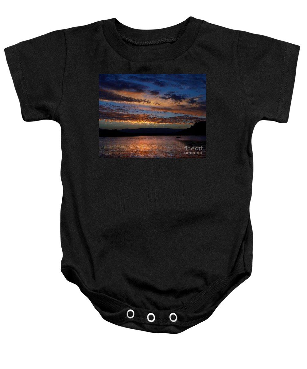Black Butte Sunset Baby Onesie featuring the photograph Black Butte Sunset by Peter Piatt