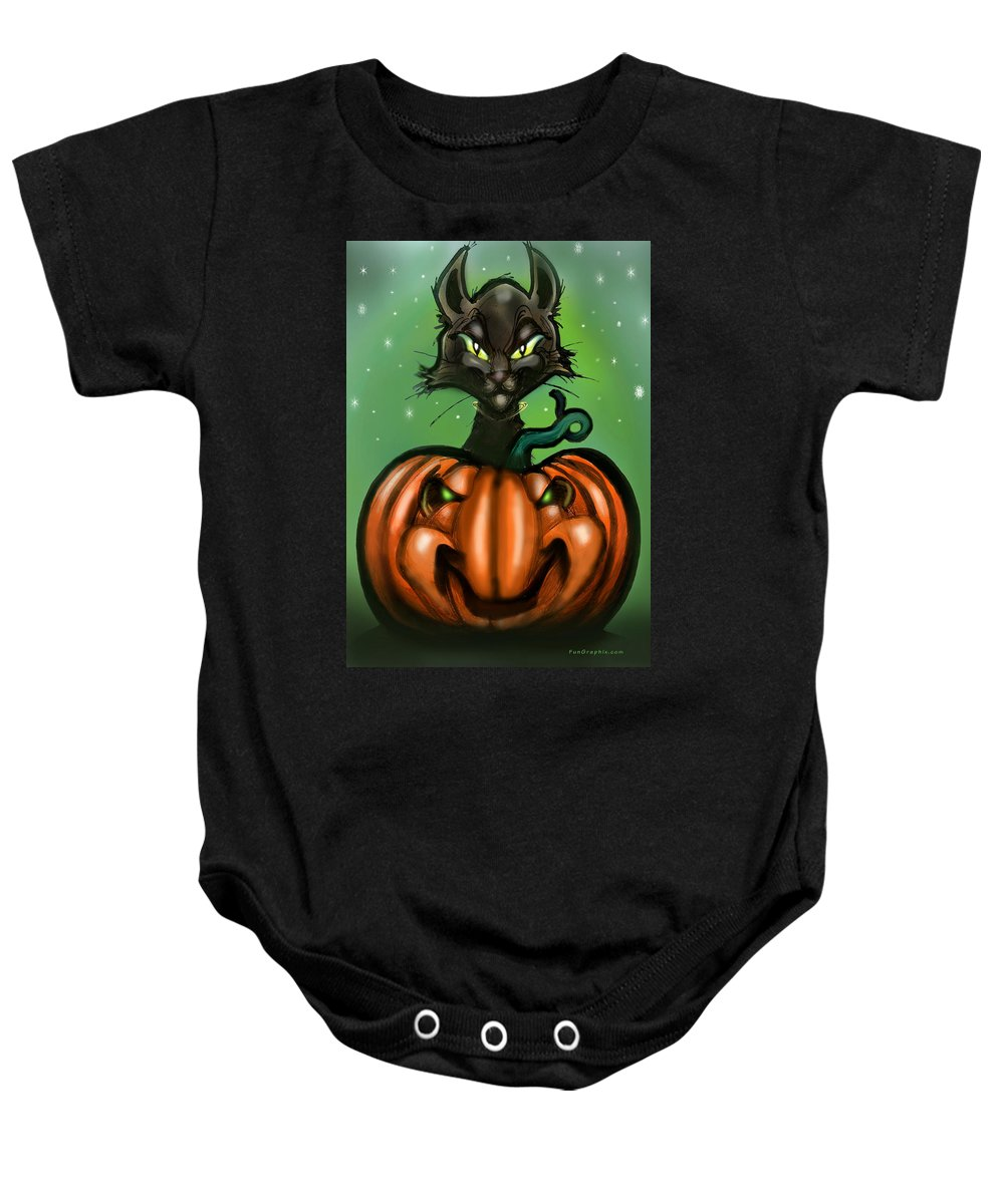 Halloween Baby Onesie featuring the greeting card Black Cat N Pumpkin by Kevin Middleton