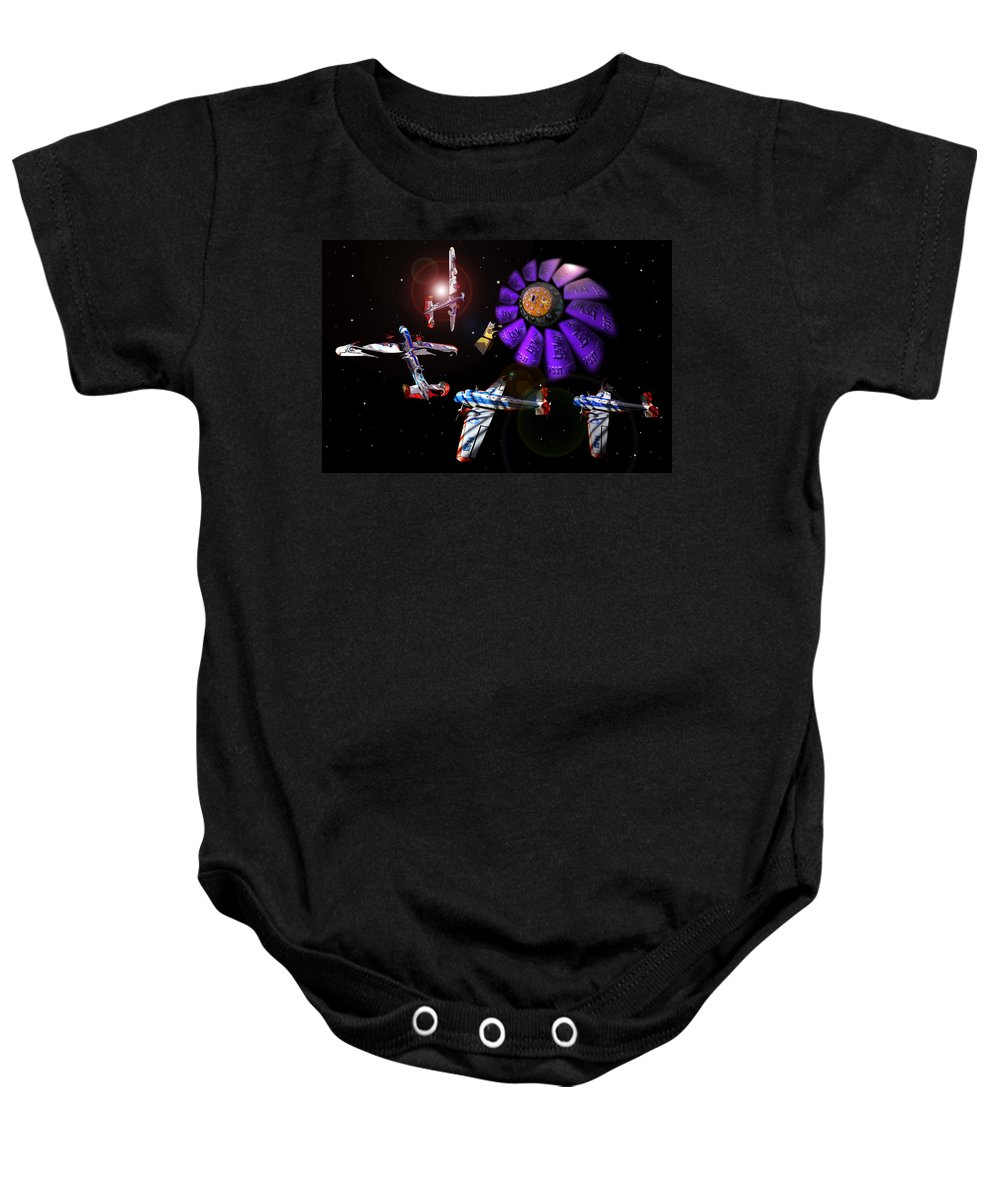 Scifi Baby Onesie featuring the digital art Black Dwarf by Charles Stuart