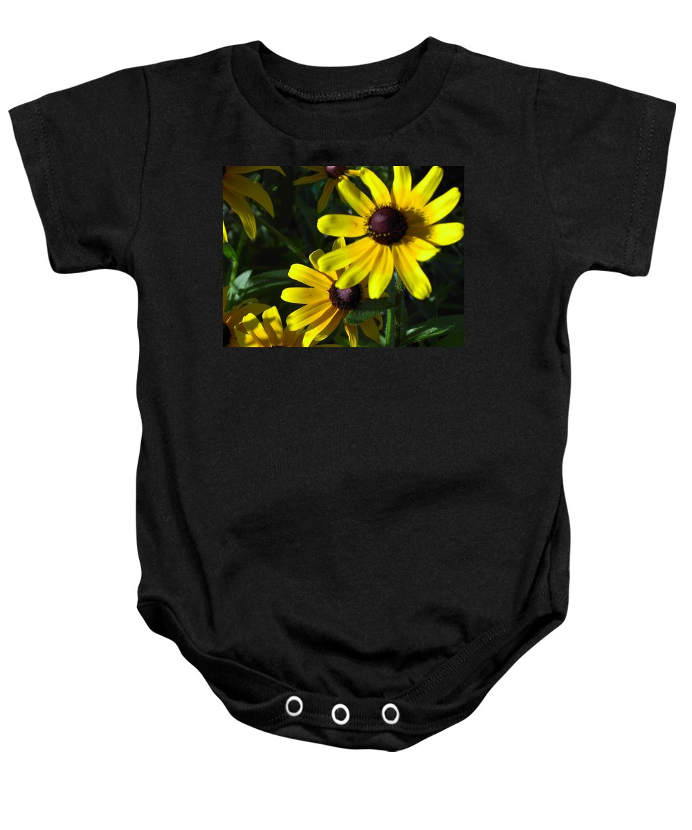 Charity Baby Onesie featuring the photograph Black Eyed Susan by Mary-Lee Sanders
