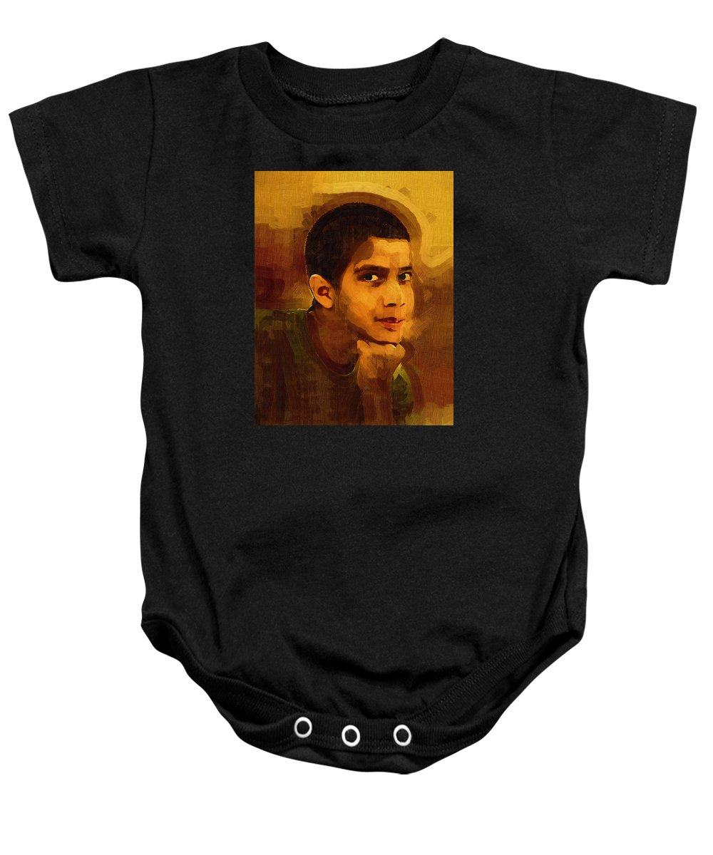 Beautiful Black Children Baby Onesie featuring the photograph Young Black Male Teen 3 by Ginger Wakem