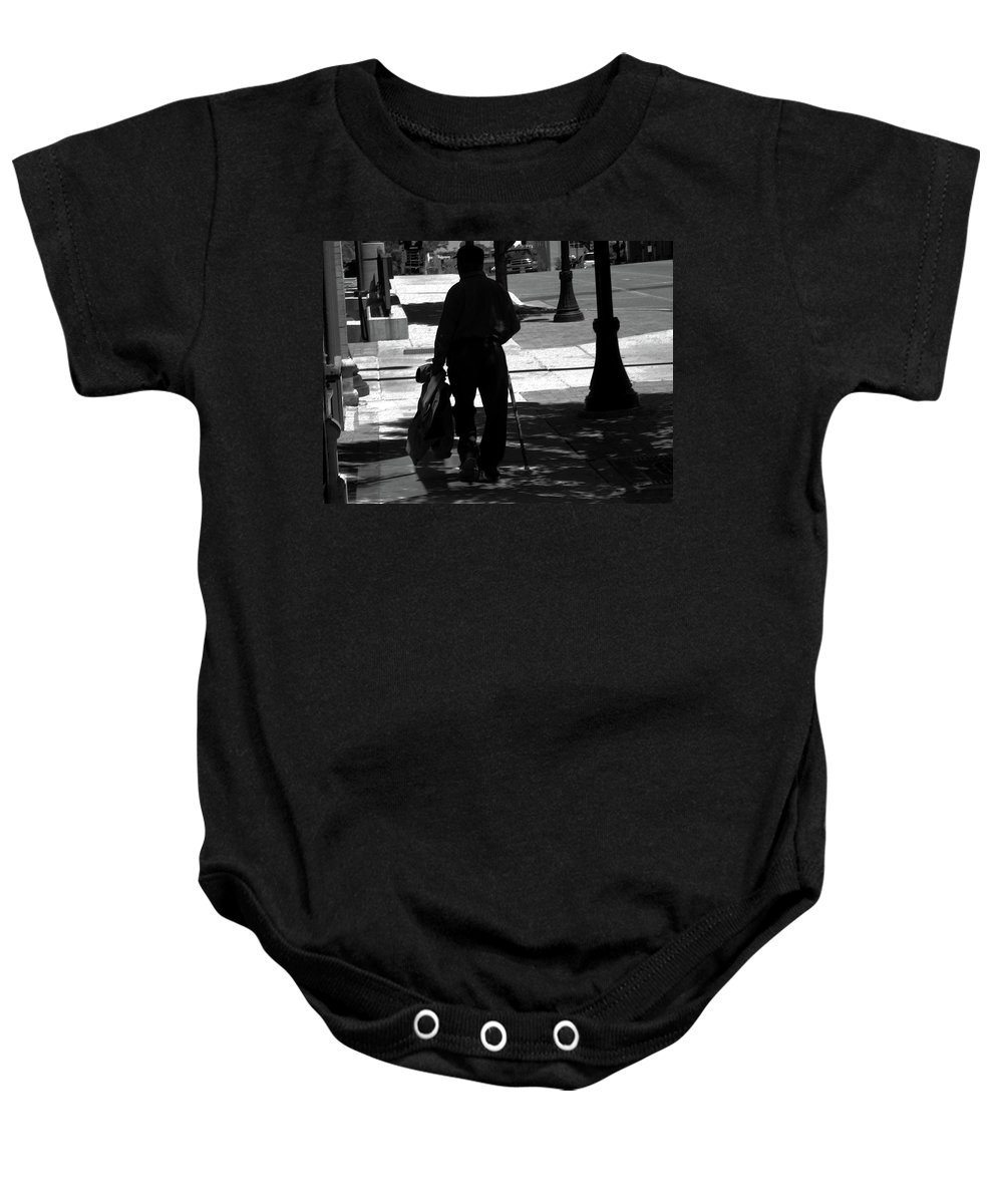 Abstract Baby Onesie featuring the photograph Black Man With Cane by Lenore Senior