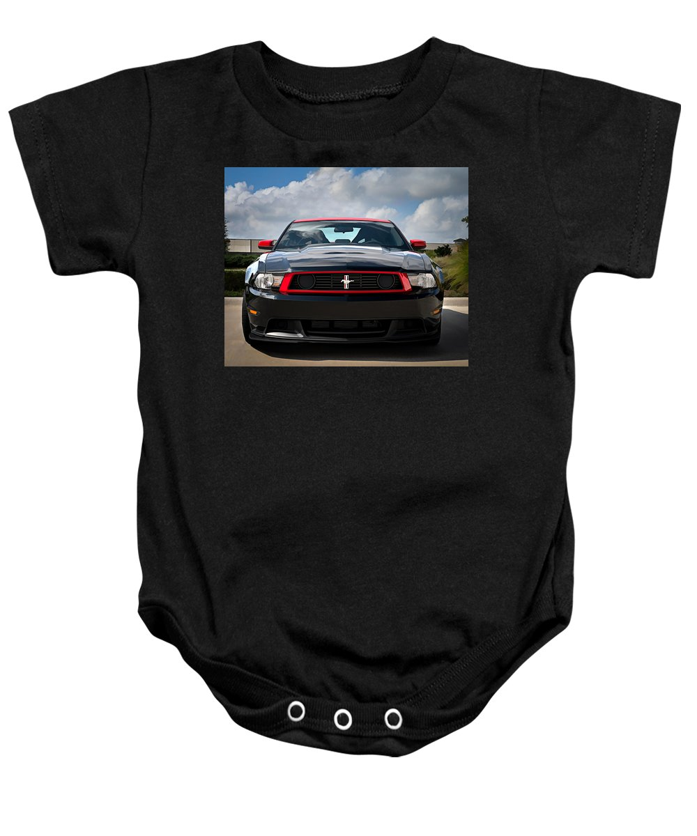 Custom Baby Onesie featuring the digital art Black Stallion by Douglas Pittman