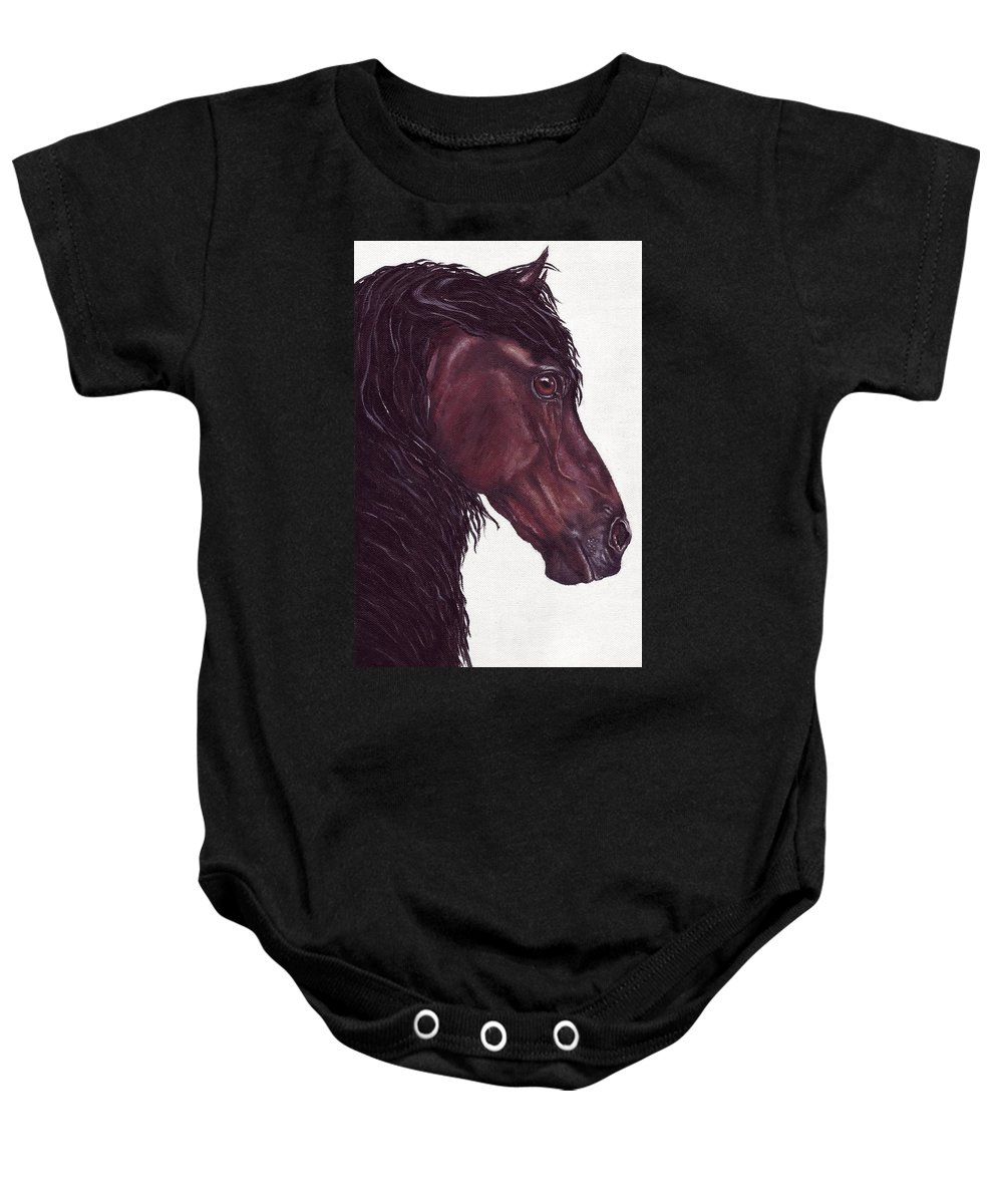 Horse Baby Onesie featuring the painting Black Sterling I by Kristen Wesch