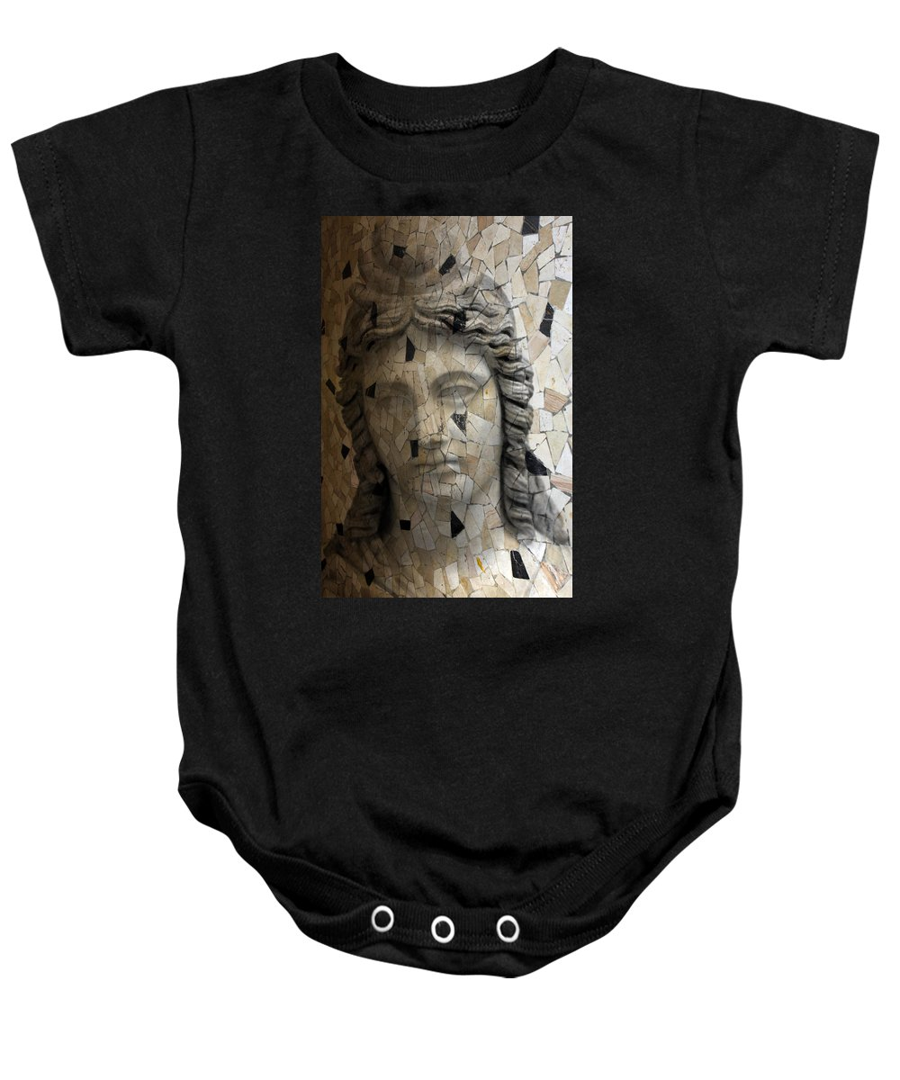 Rome Baby Onesie featuring the photograph Black Stones by Munir Alawi
