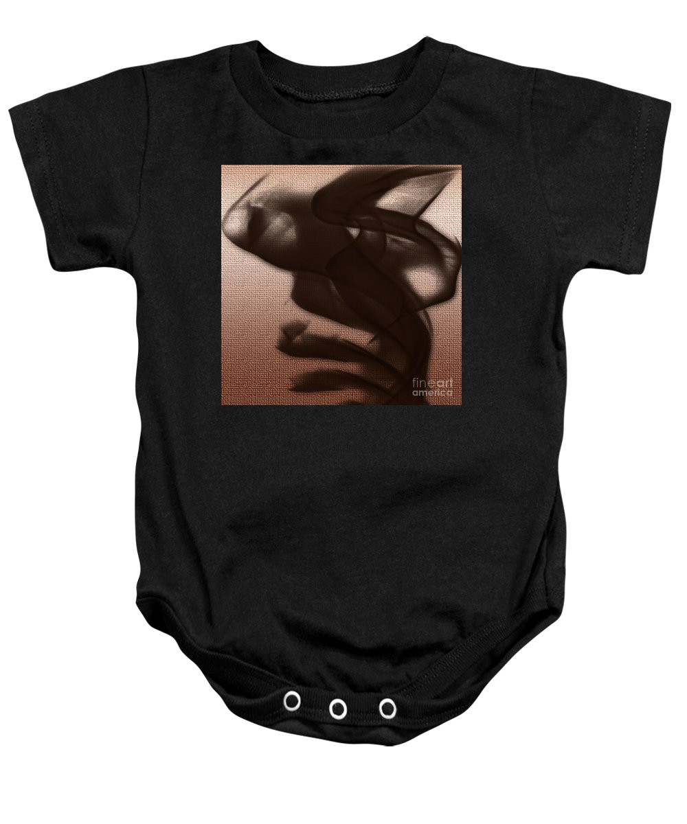Clay Baby Onesie featuring the digital art Black Vector Apparition by Clayton Bruster
