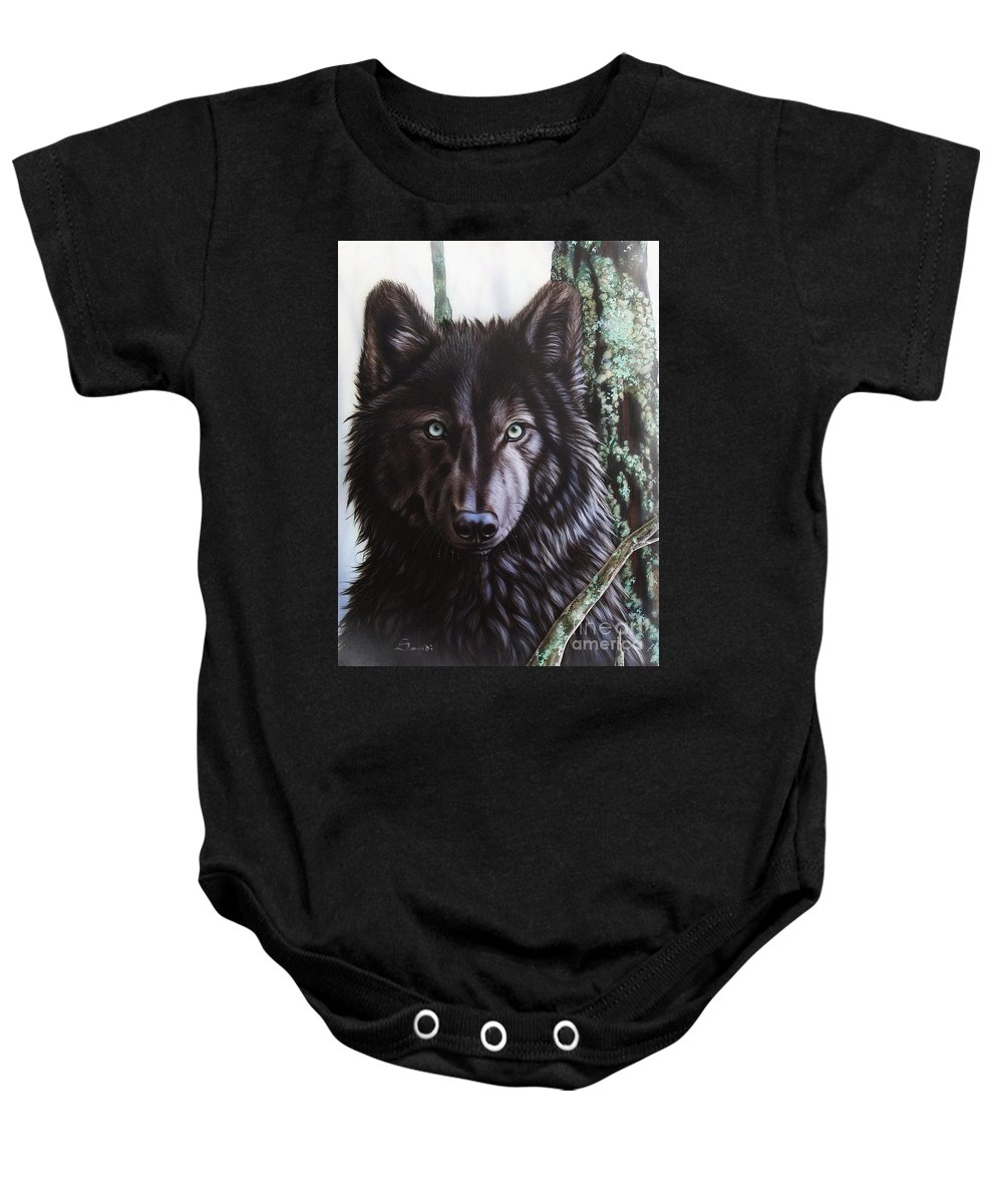 Wolves Baby Onesie featuring the painting Black Wolf by Sandi Baker