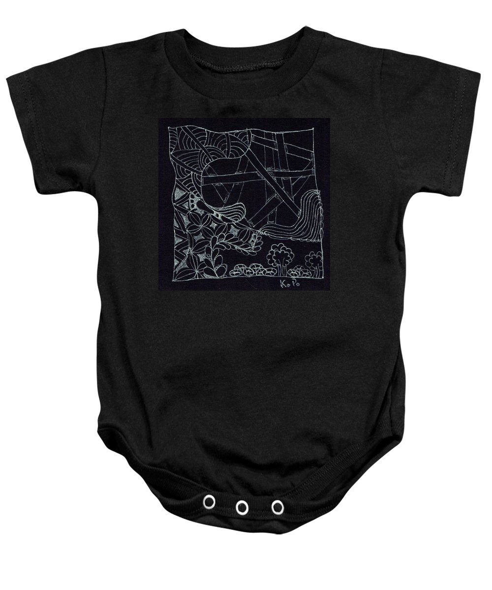 Inverse Baby Onesie featuring the drawing Black Zen 4 by Kitty Perkins