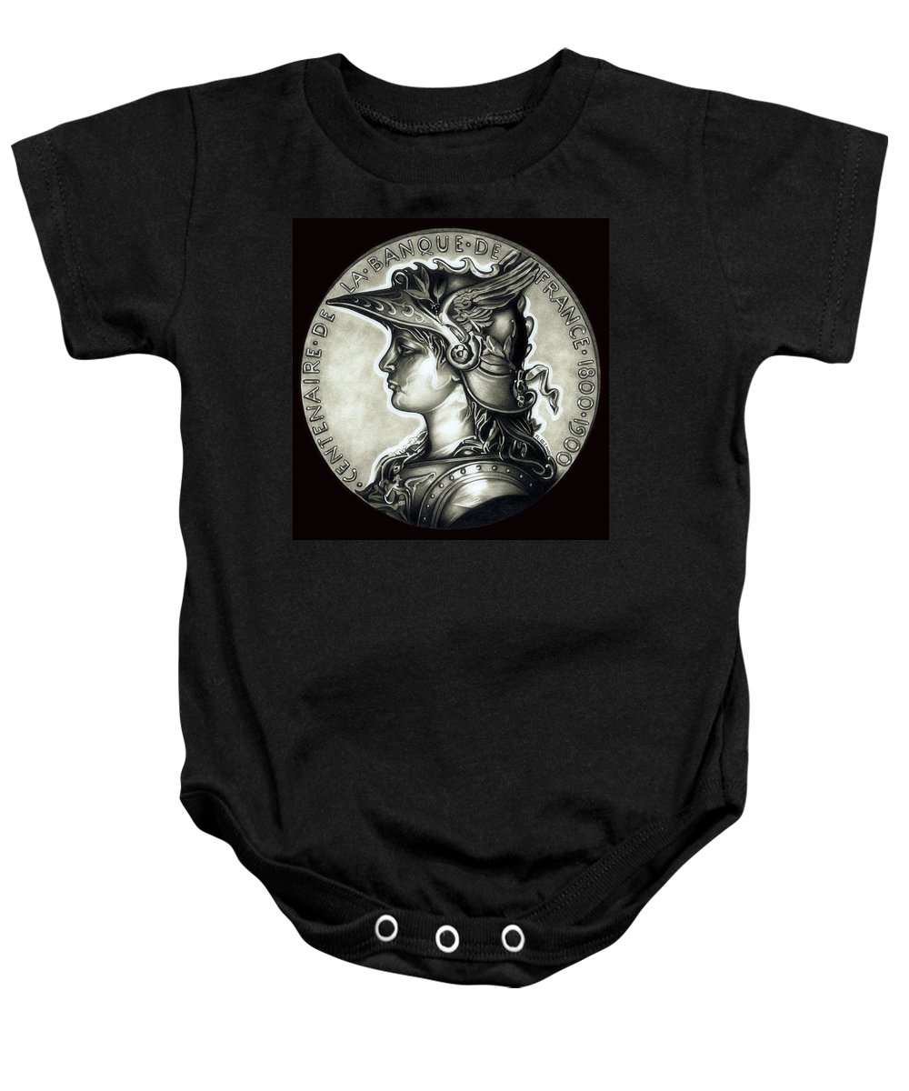 Coin Baby Onesie featuring the drawing Blackmarianne by Fred Larucci