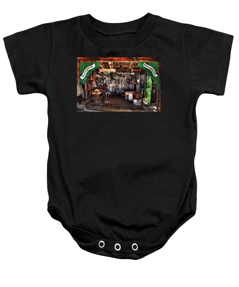 Photography Baby Onesie featuring the photograph Blacksmith Shop By Kaye Menner by Kaye Menner