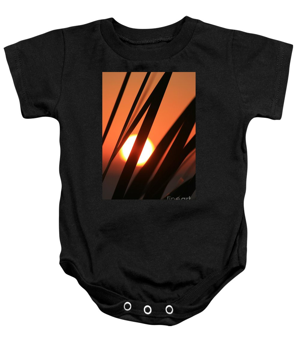 Sun Baby Onesie featuring the photograph Blazing Sunset And Grasses by Nadine Rippelmeyer