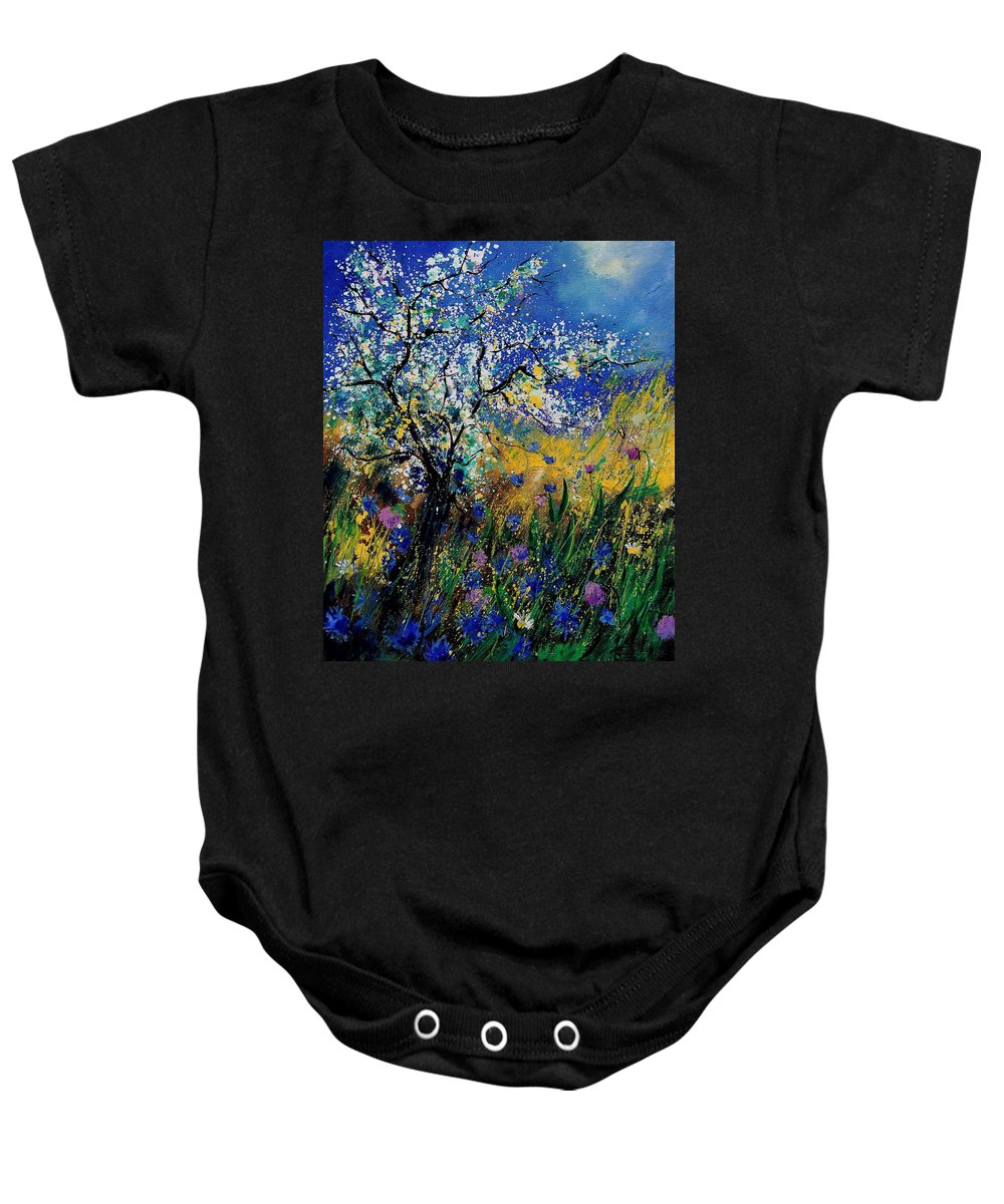 Spring Baby Onesie featuring the painting Blooming Appletree by Pol Ledent