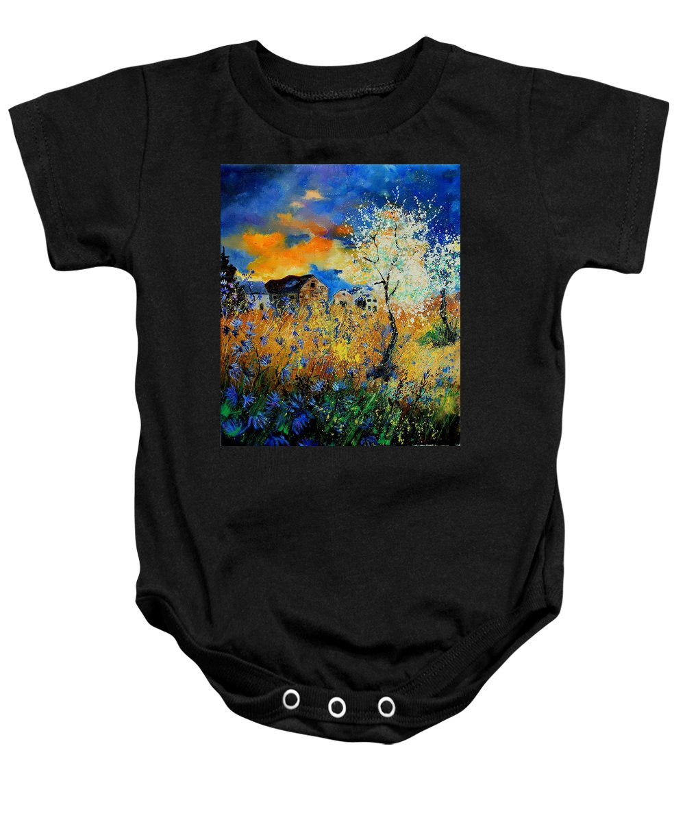 Poppies Baby Onesie featuring the painting Blooming Trees by Pol Ledent