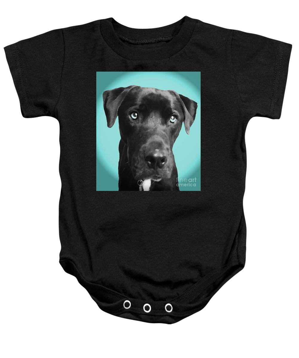 dog Art Baby Onesie featuring the photograph Blue by Amanda Barcon