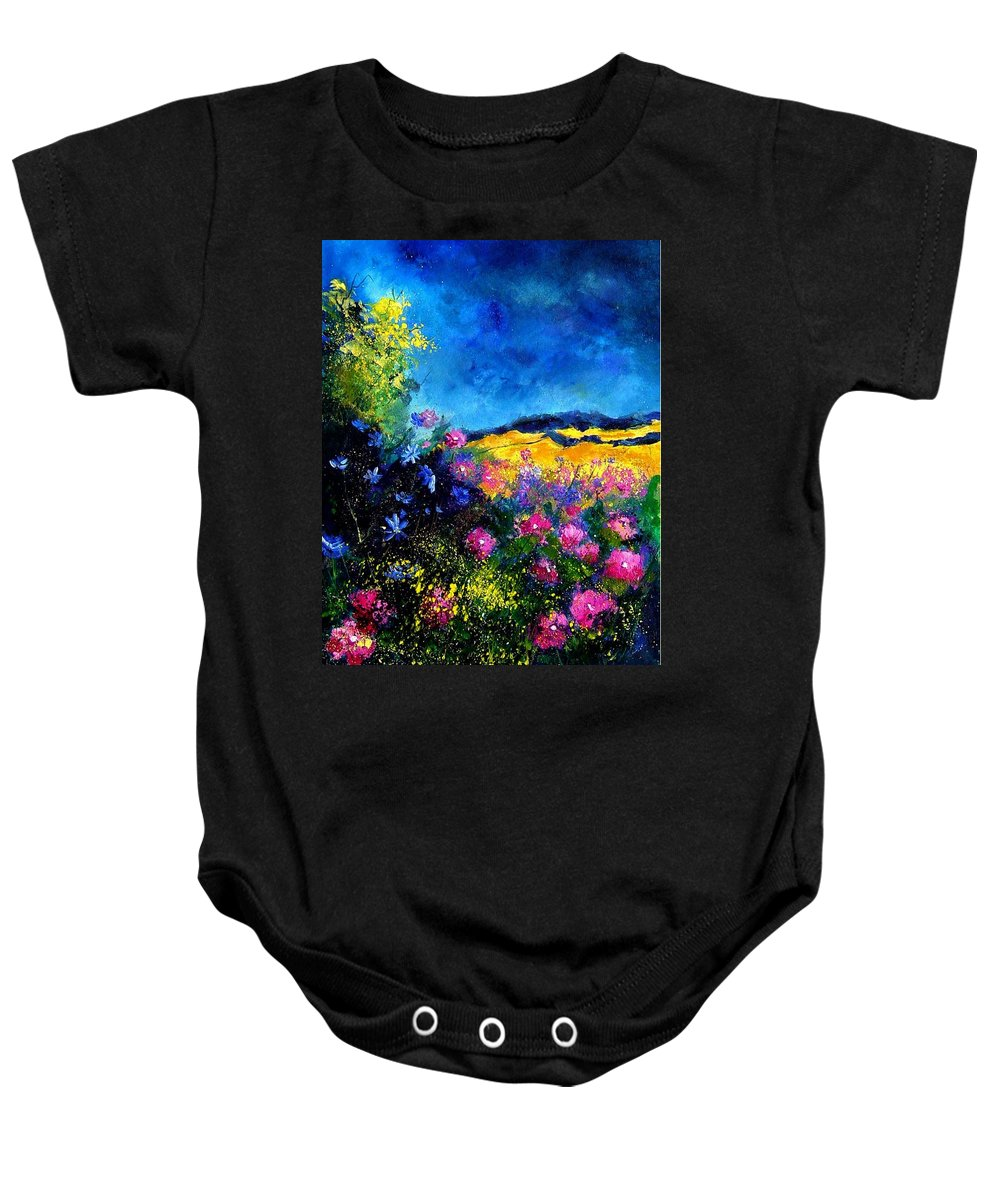 Landscape Baby Onesie featuring the painting Blue And Pink Flowers by Pol Ledent