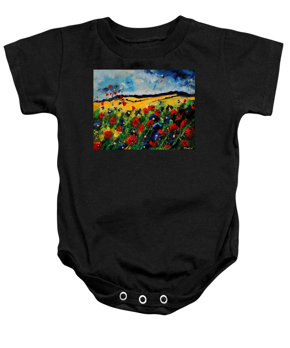 Poppies Baby Onesie featuring the painting Blue And Red Poppies 45 by Pol Ledent