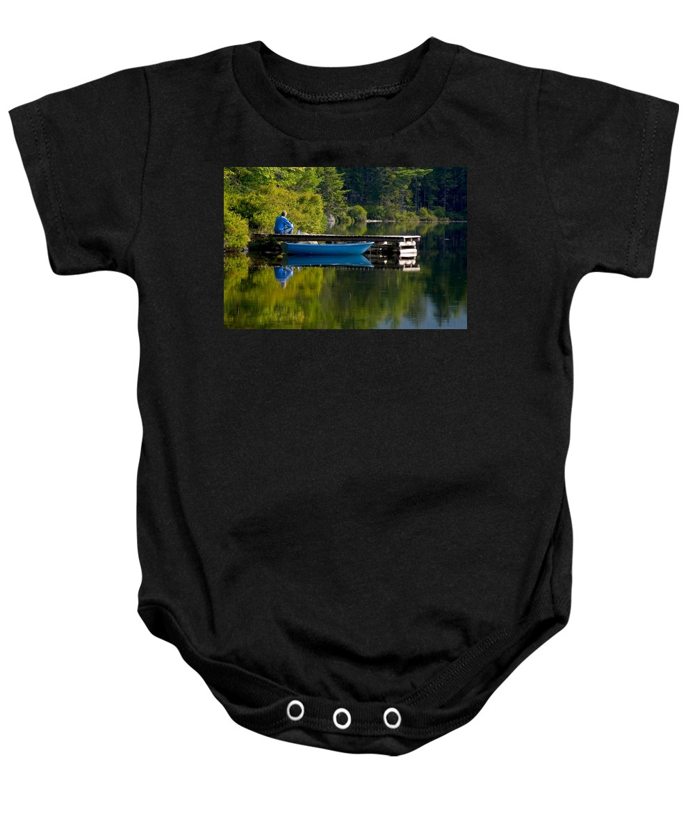 Boat Baby Onesie featuring the photograph Blue Boat by Brent L Ander