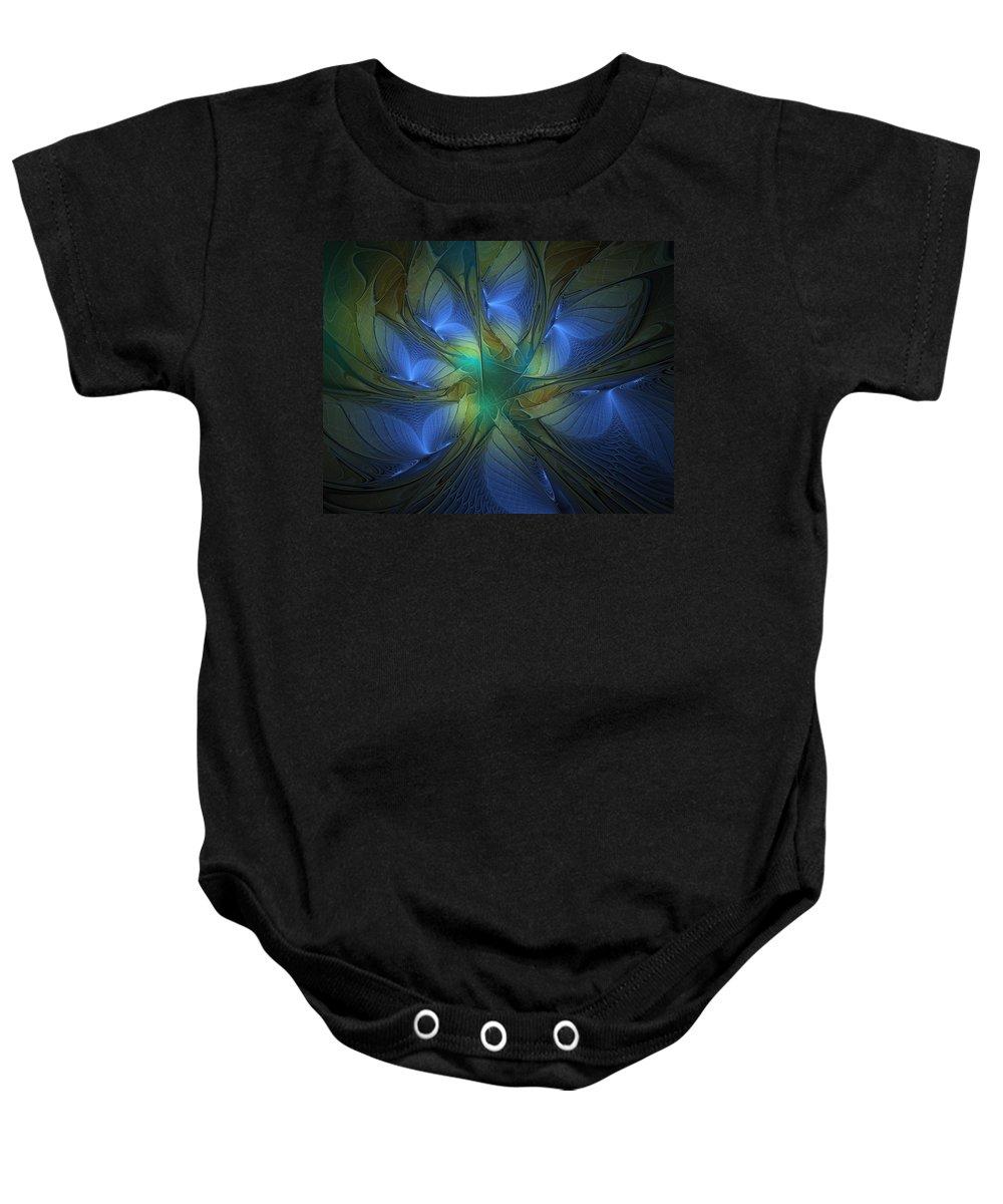 Digital Art Baby Onesie featuring the digital art Blue Butterflies by Amanda Moore