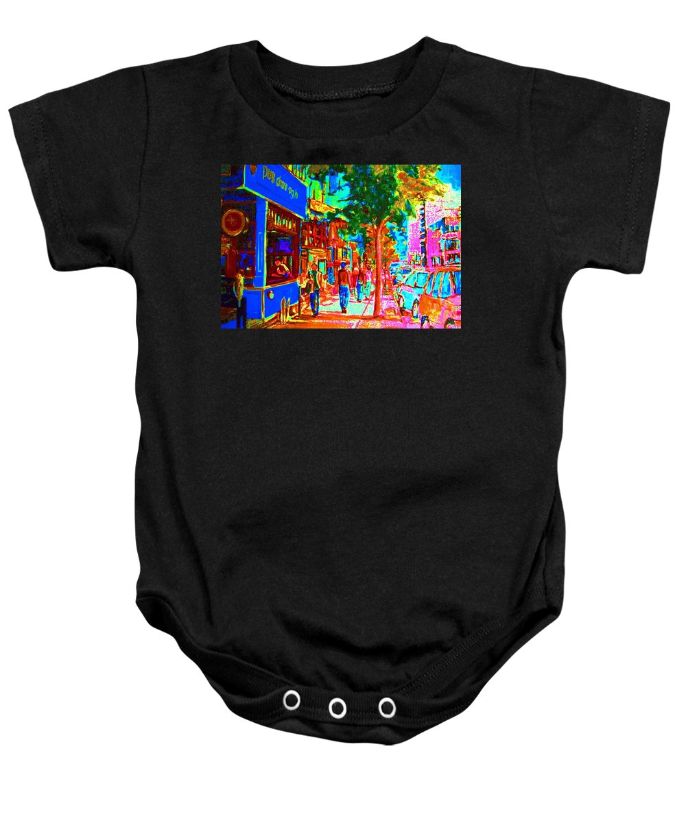 Cafes Baby Onesie featuring the painting Blue Cafe In Springtime by Carole Spandau
