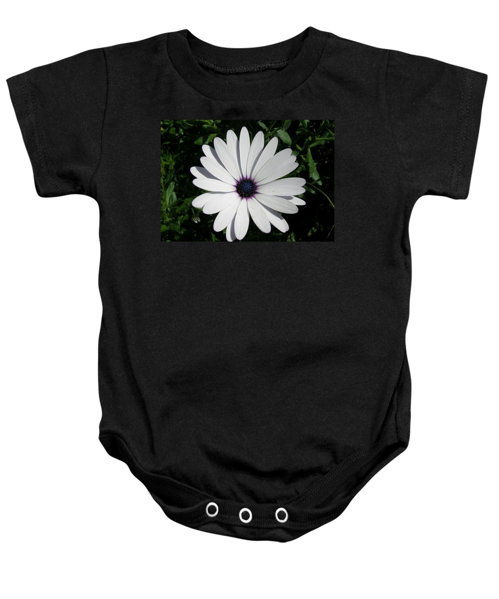 Daisy Baby Onesie featuring the photograph Blue Center Daisy by Valerie Ornstein